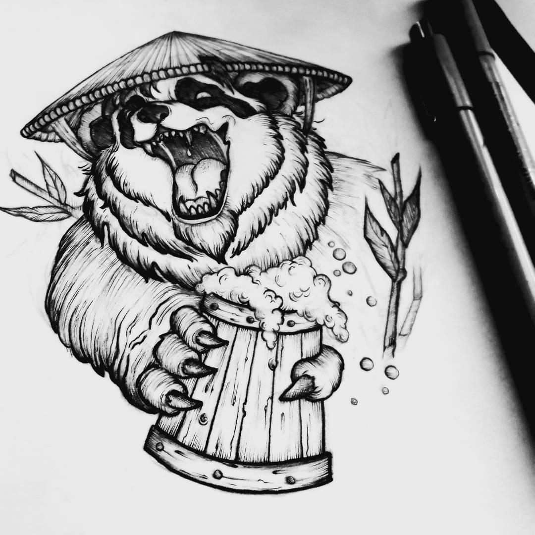 熊猫人纹身手稿设计完成图片